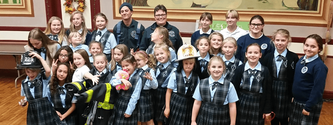 students with firefighers